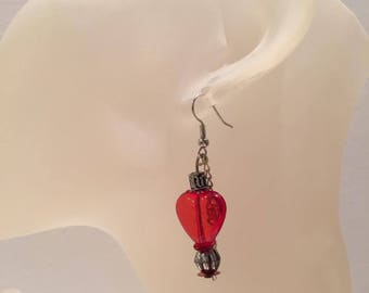 Pearl Red Heart Earrings