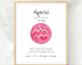 Aquarius   Horoscope Gift   Art Print   Zodiac Sign   Best Friend Gift    DIY Wall Art   Aquarius Gift   Astrology
