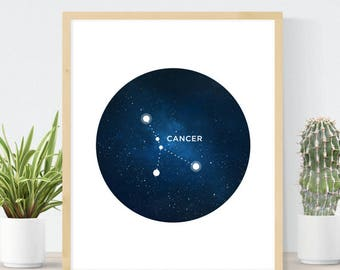 Cancer Constellation   Horoscope Art Print   Celestial Map   Birthday Gift   Cancer Birthday Gift   Cancer Star Sign    DIY Wall Art