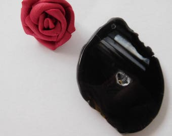 Black agate slice pendant 60 x 42 x 0.5 mm