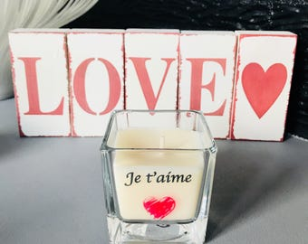 Personalized Valentine's day candle, soy wax