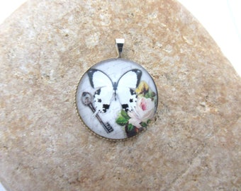 Glass Butterfly cabochon pendant