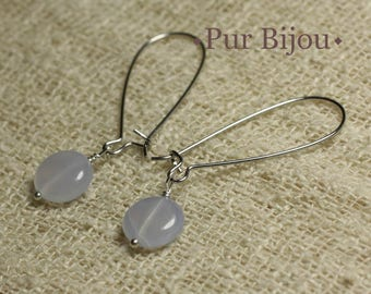 Earrings - chalcedony 10mm
