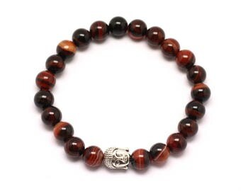 Buddha and gemstone - red Agate and Black 8 mm bracelet