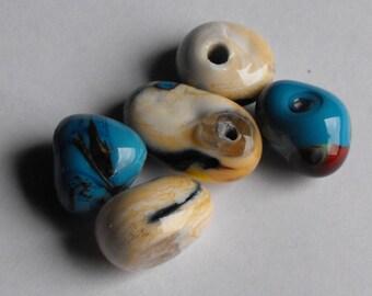 Set of 5 handmade Lampwork Murano glass beads