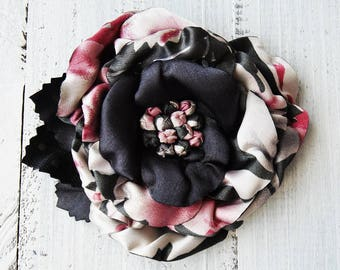 Textile brooch, floral brooch, flower for dress,handmade