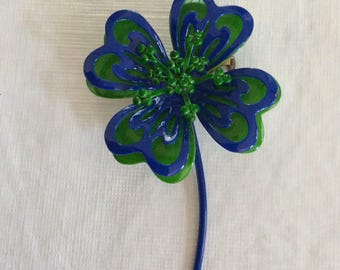 Rare Vtg Mod floral 1960's Pin, Mom gift, Green Brooch, Retro Blue Pin, floral Pin,  MCM Pin, Flower Pin, Enamel Pin, Unique Rare 4 leaf