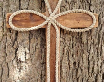 Barn wood,rustic,western cross with a  lariat rope