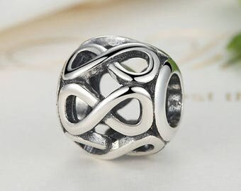 A12 Authentic 925 Sterling Silver Charm Infinity Fits European & Pandora Charm Bracelet
