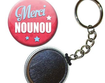 Badge 38 mm - thank you for nanny Rose child gift nurse keychain