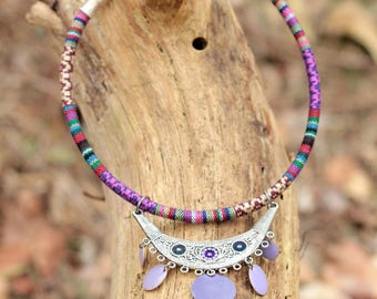Ethnic fabric cord and silver chandelier necklace