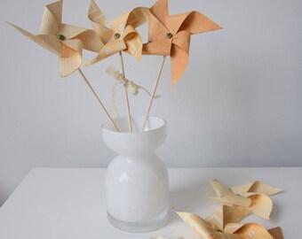6 pinwheels beige vintage - wedding decoration