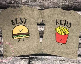 Burger and fries best buds shirt set.