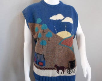 Woolrich Sweater Vest Amish Country Scene Women's XL 100% wool