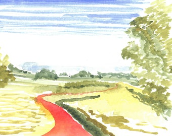 Watercolor Painting of the Countryside in Provence, France