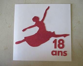 "Adult 18 birthday card themed ""ballet dancer"""