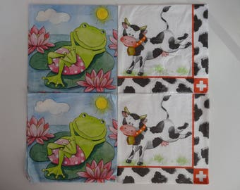"4 ""animal"" themed paper napkins"