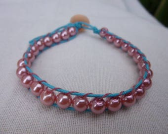 """Bracelet""""wraps"""" handcrafted pink and blue"""