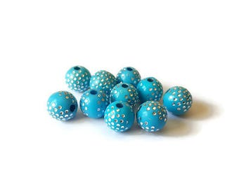 Dots turquoise round beads silver 8mm