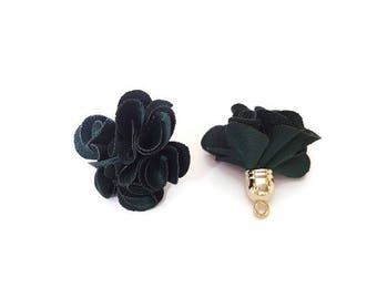 Dark green fabric tassel