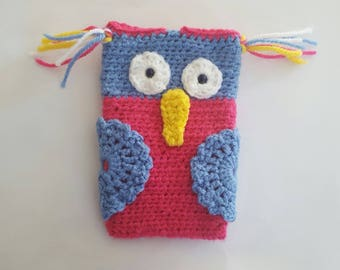 CROCHET OWL MOBILE HOLDER