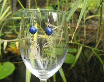 Lapis lazuli and a filigree bird cage earrings