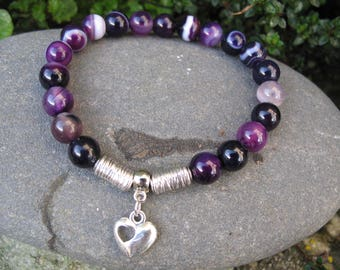 Heart and purple agate Beads Bracelet