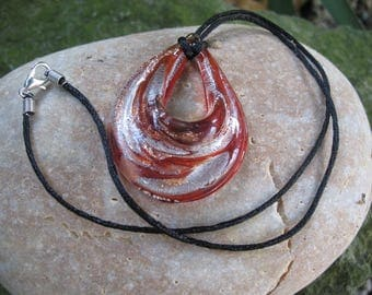 Brown blown glass drop necklace