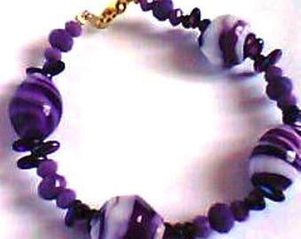Bracelet - mixed - baroque glass - purple grey color