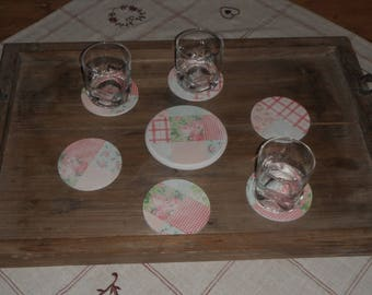 Coaster set with its 6 coasters / country style