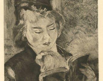 """Pierre-Auguste Renoir etching """"Liseuse"""""""