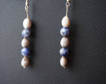 earrings with natural job's tears and sodalite