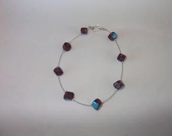 Purple square glass beads bracelet