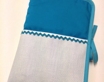 Health book has embroidery cross stitch, turquoise blue fabric aida choice
