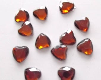 12 RHINESTONE faceted - heart - copper - 10 mm REF.14 colors