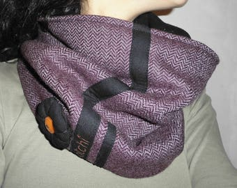 Fleece lining purple tweed Snood, black