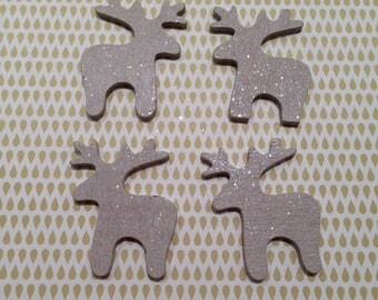 Christmas decoration: cute reindeer silver - sold per 1 pce