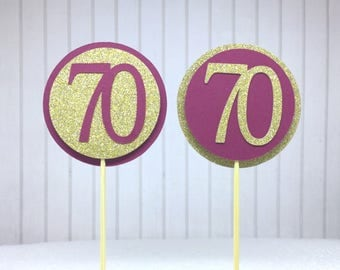 """70th Birthday Cupcake Toppers - Glitter Gold & Maroon """"70"""" - Set of 12 - Elegant Cake Cupcake Age Topper Picks Party Decorations"""