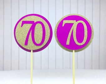 """70th Birthday Cupcake Toppers - Gold Glitter & Hot Pink """"70"""" - Set of 12 - Elegant Cake Cupcake Age Topper Picks Party Decorations"""