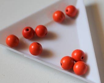 x 9 beads howlite - 8 mm - Orange
