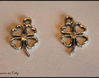 x 1 silver metal 4-leaf clover charm
