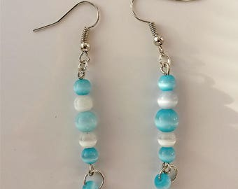 Silver earrings pearls glass blue and white