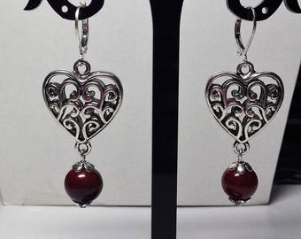 Red marbled beads and puffed heart earrings