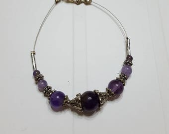 Twisted metal bracelet silver and Amethyst genuine