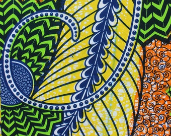 Wax Orange, blue and green fabric