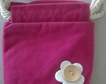 LARGE FUCHSIA FLOWER BUTTON WITH FELTED WOOL BAG