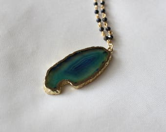 Multicolor Agate Slice Necklace