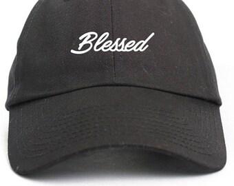 Blessed Cursive Dad Hat Adjustable Baseball Cap New - Black