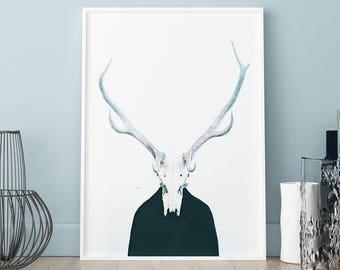 Horns poster, Horns print, Wall art, Art Print, Scandinavian print, Scandinavian poster