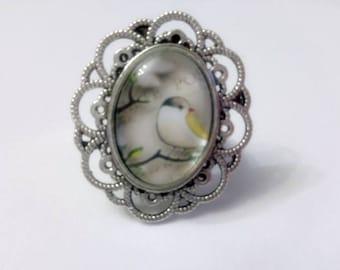 Ring silver adjustable bird